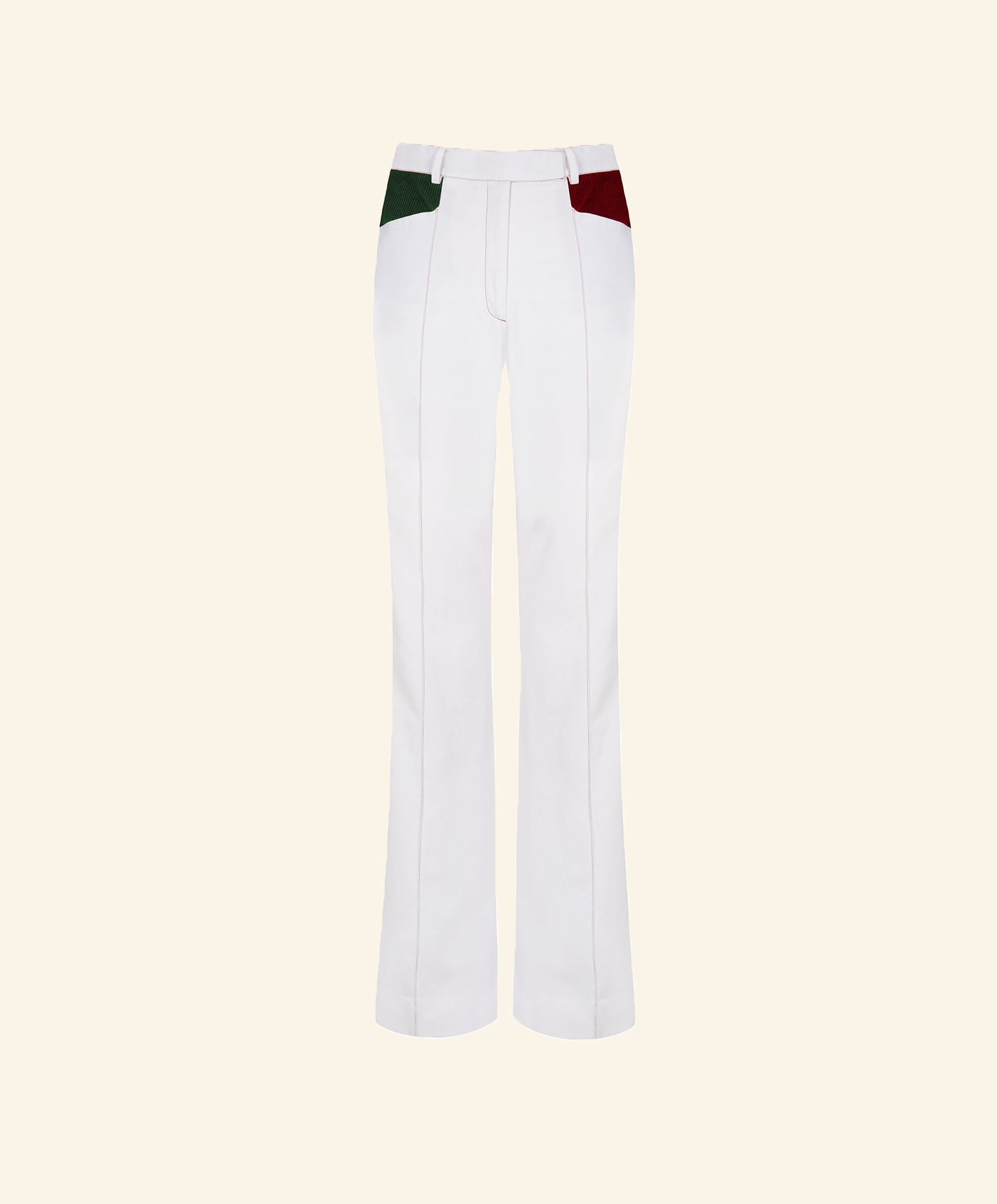 White Trousers Patched Pockets